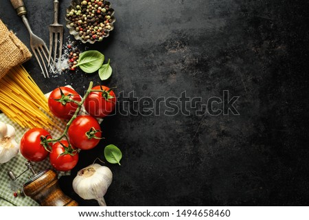 Italian food background. Italian cuisine. Ingredients on dark background. Cooking concept. Cooking background #1494658460