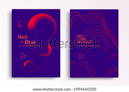Liquid poster design template in duotone gradients. Cover design with red and blue fluid color shapes composition. Futuristic design for flyer. #1494660200