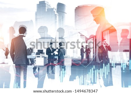 Business people working together in stylish office with double exposure of cityscape and graphs. Concept of trading and stock market. Toned image #1494678347