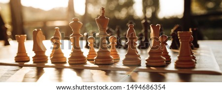 Playing chess on a chessboard at sunset. Tactics and strategy. Black and white figures. #1494686354
