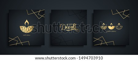 Happy Diwali luxury greeting cards set. India festival of lights holiday invitations templates collection with hand drawn lettering and gold diya lamps. Vector illustration. #1494703910
