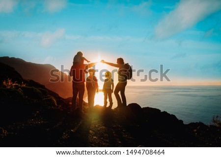 happy family with kids travel in mountains at sunset #1494708464