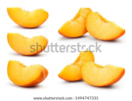 Peach slice isolated. Peach set on white background. Collection. With clipping path. #1494747335