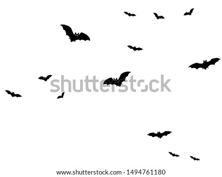 Horror black bats group isolated on white vector Halloween background. Flittermouse night creatures illustration. Silhouettes of flying bats traditional Halloween symbols on white. #1494761180