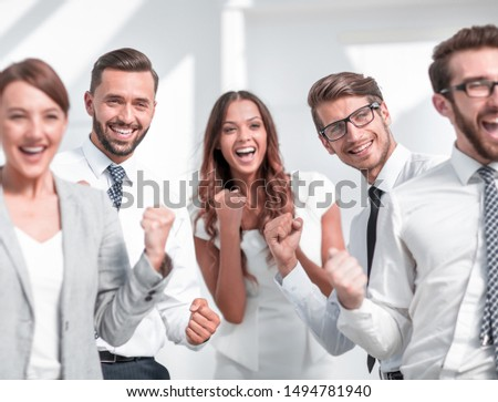 close up.image of a happy business team. #1494781940
