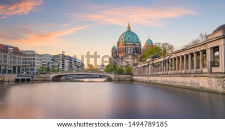 Berlin skyline with Berlin Cathedral (Berliner Dom) and Spree river at sunset twilight, in  Germany #1494789185