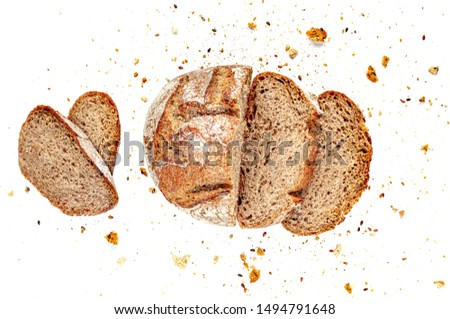 Sliced Multigrain bread isolated on a white background. Rye Bread  slices with crumbs. Top view. Close up #1494791648
