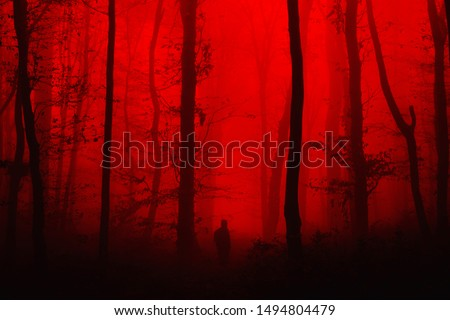 surreal horror landscape, man in forest nightmare scene Royalty-Free Stock Photo #1494804479