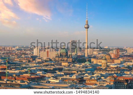 Berlin skyline with Berlin Cathedral (Berliner Dom)  at sunset in  Germany #1494834140