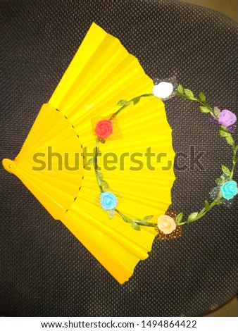 handmade fan with handmade angle crown #1494864422