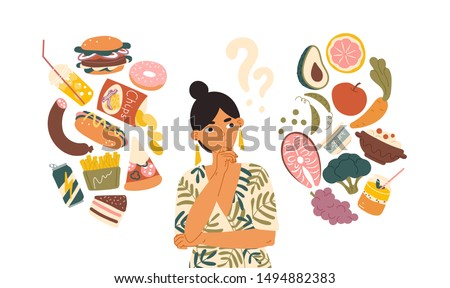 Woman choosing between healthy and unhealthy food concept flat vector illustration. Fastfood vs balanced menu comparison isolated clipart. Female cartoon character dieting and healthy eating. Royalty-Free Stock Photo #1494882383