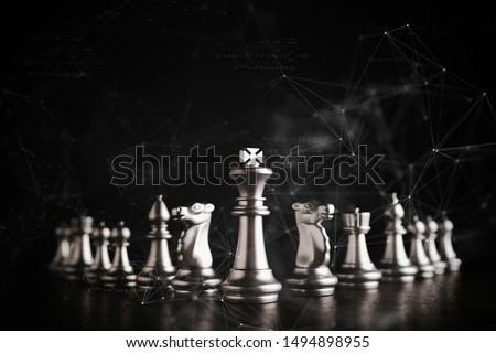 strategy ideas concept business futuristic graphic icon and golden chess board game black colot tone #1494898955