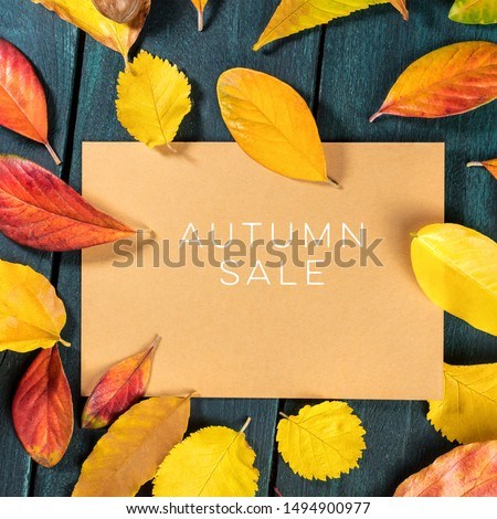 Autum Sale. Discount banner or flyer design template with vibrant autumn leaves on a brown kraft card, with a place for text #1494900977