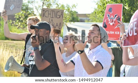 Aurora, CO, USA. Sep 2, 2019. Protesters at the Stand For ICE Rally in Aurora, CO protesting against ICE workers doing their jobs and against illegal immigrants being held in the ICE facility.  #1494912047