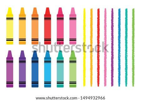 Crayon and Divider Clip Art Set Kids School Craft Art Supply Graphics