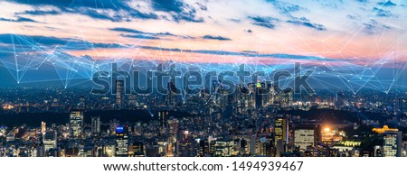 Smart city and communication network concept. 5G. LPWA (Low Power Wide Area). Wireless communication. Royalty-Free Stock Photo #1494939467