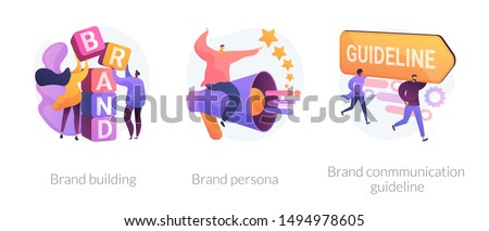 Corporate identity, company personality development. Reputation management. Brand building, brand persona, brand communication guideline metaphors. Vector isolated concept metaphor illustrations Royalty-Free Stock Photo #1494978605