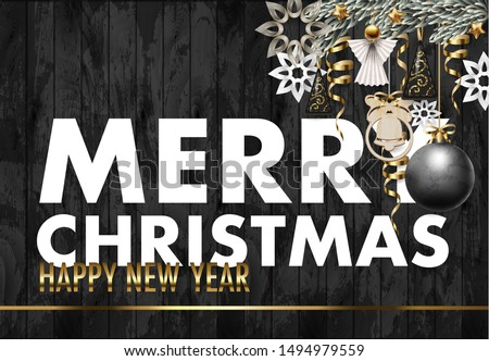 Christmas banner or postcard with fir, star and candies. Vector. #1494979559