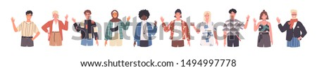 People greeting gesture flat vector illustrations set. Different nations representatives waving hand. Men, women in casual clothes, national costumes say hello. Male, female caucasian, african people. #1494997778