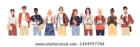 Group of multicultural students flat vector illustration. Young girls and boys holding books and laptop isolated characters on white background. Happy teenager in casual clothes. Youth lifestyle. Royalty-Free Stock Photo #1494997784
