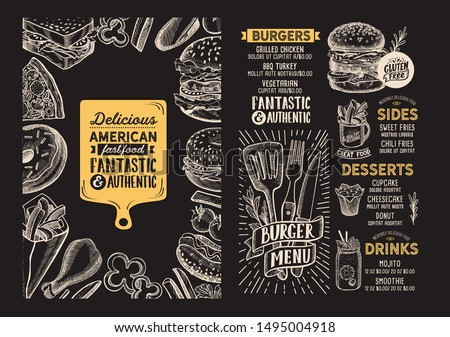 Burger menu template for restaurant on a blackboard background vector illustration brochure for food and drink cafe. Design layout with lettering and doodle hand-drawn graphic icons. Royalty-Free Stock Photo #1495004918