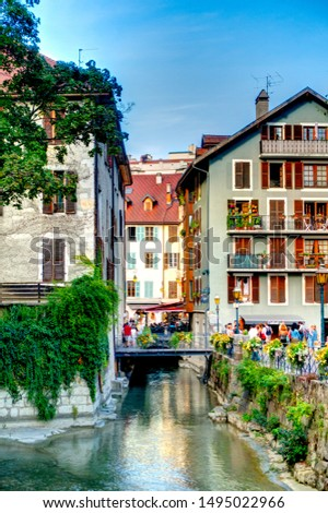 Annecy, France - August 2019 : Historical center in summertime, HDR image #1495022966