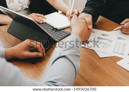 Business people partners shaking hands after complete agreement plan in meeting room, investment concept, success concept #1495036700