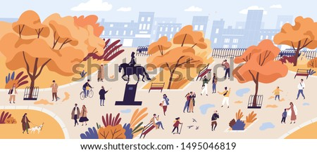 People walking in autumn park flat vector illustration. Citizens strolling in city center recreational area. Fall season nature and outdoor activities. Orange trees and building on horizon landscape. #1495046819