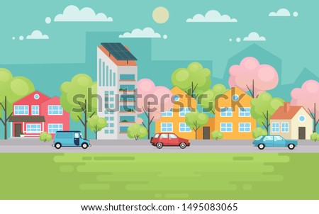 Urban ecology city street vector illustration. People walking in the city park. Vector illustration.