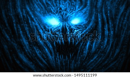 Angry devil face with glowing eyes. Illustration in the genre of horror. Blue background color.