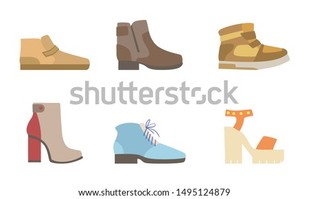Male and Female Shoes Set, Footwear for Different Seasons Vector Illustration #1495124879