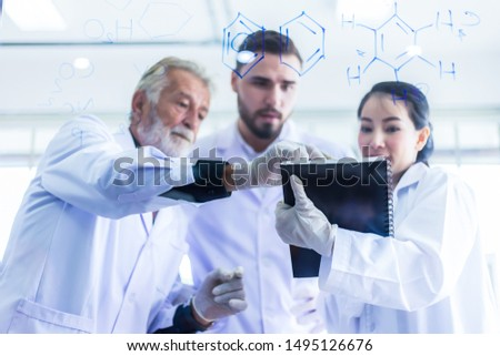 Research teams in health sciences, life sciences and chemistry experiments. #1495126676