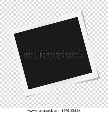 Square photo frame template with shadows isolated on transparent background. vector illustration #1495158896