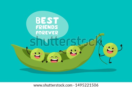 Green young peas with the slogan Best friends forever. Vector illustration in cartoon style. . Cheerful peas. Royalty-Free Stock Photo #1495221506