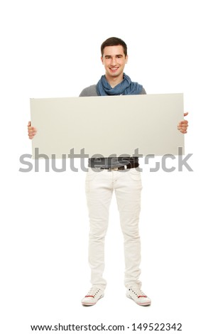 A handsoma man holding a blank, isolated on white #149522342
