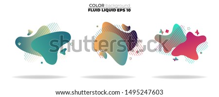 fluid shape vector set. gradient liquid with neon colors, item for the design of a logo, flyer, persentation, gift card,  Poster on wall,  landing page, ,coverbook,  banner, social media posted #1495247603
