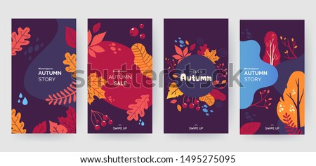 Set of abstract autumn backgrounds for social media stories. Colorful banners with autumn fallen leaves and yellowed foliage. Use for event invitation, discount voucher, advertising. Vector eps 10 #1495275095