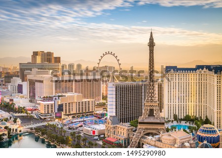 Las Vegas, Nevada, USA skyline over the strip at dusk. #1495290980