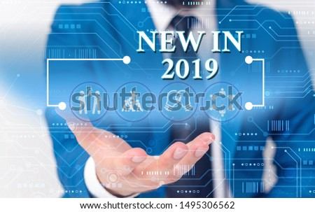 Writing note showing New In 2019. Business photo showcasing what will be expecting or new creation for the year 2019 Male wear formal work suit presenting presentation smart device. #1495306562