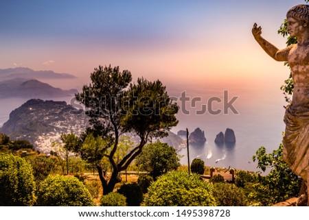 CAPRI ISLAND, ITALY, JUNE 10, 2015 : panorama of Capri island from Monte Solaro, in Anacapri, june 10, 2015, in Anacapri, Capri, Italy #1495398728