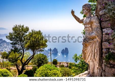 CAPRI ISLAND, ITALY, JUNE 10, 2015 : panorama of Capri island from Monte Solaro, in Anacapri, june 10, 2015, in Anacapri, Capri, Italy #1495398731