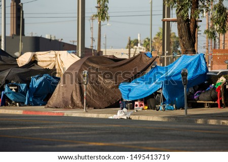 View of the homeless encampments along Central Avenue in Downtown Los Angeles, California. #1495413719