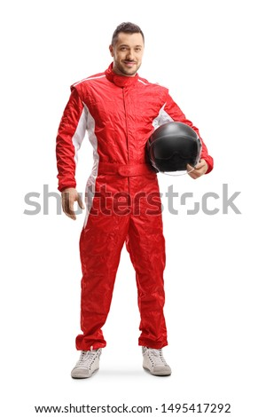 Full length portrait of a racer in a red uniform holding a helmet and smiling isolated on white background Royalty-Free Stock Photo #1495417292