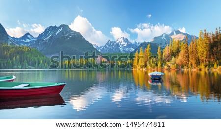 High Tatras mountains national park and Strbske pleso  (Strbske lake) beautiful mountain lake in Slovakia #1495474811