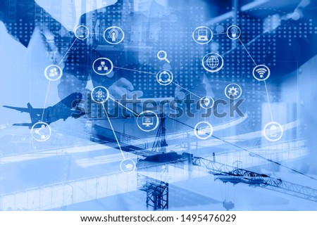 Double exposure of businessman using smart  factory with icon and data exchange in manufacturing technologies.  Industry concept image. #1495476029