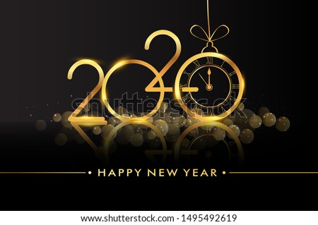 Happy New Year 2020 - New Year Shining background with gold clock and glitter. #1495492619