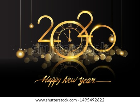 Happy New Year 2020 - New Year Shining background with gold clock and glitter. #1495492622