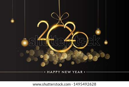 Happy New Year 2020 with glitter isolated on black background, text design gold colored, vector elements for calendar and greeting card. #1495492628