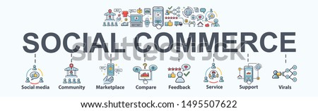 Social commerce banner web icon for e-commerce and social media marketing, community, platform, feedback, viral and marketplace. Flat vector infographic. #1495507622