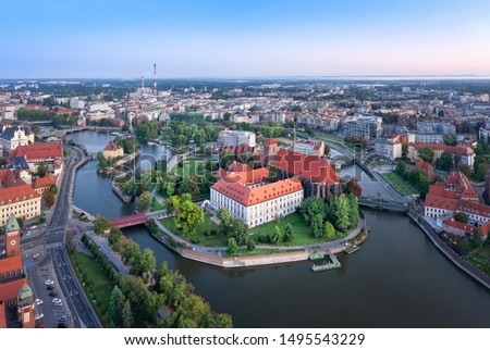 Aerial view of Wyspa Piasek (or Sand Island) in the Odra river, Wroclaw, Poland Royalty-Free Stock Photo #1495543229